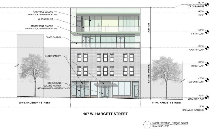 Rendering of additional floors being added to 107 West Hargett
