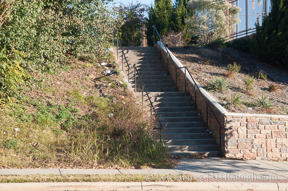 The stairs from South Harrington Street to Lenoir Street
