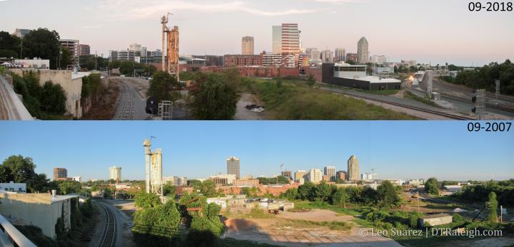 View of the Raleigh Skyline in September 2007 and September 2018.