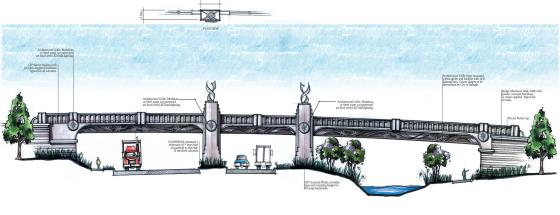 Rendering of the Wade Avenue bridge with columns