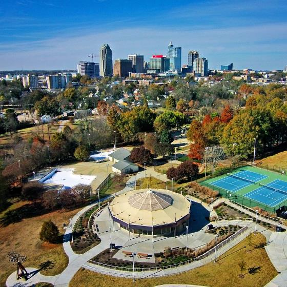 Downtown Raleigh and Chavis Park, photo by Lift Aerial