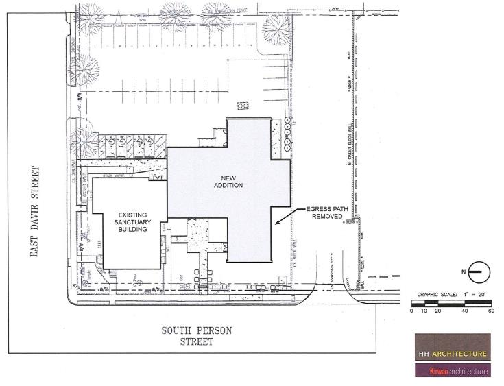 Map of the new addition for Davie Street Presbyterian.