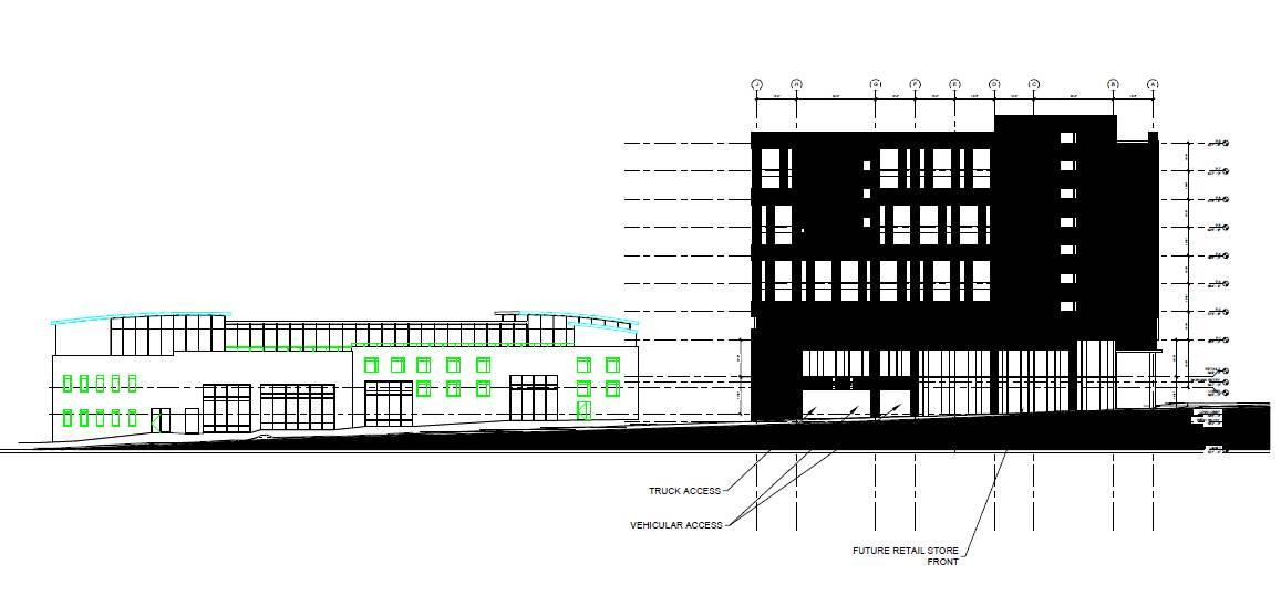 Parking Deck and Citrix building, east elevation plan.