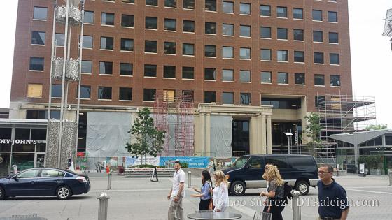 Bank of America Plaza renovation taking place.
