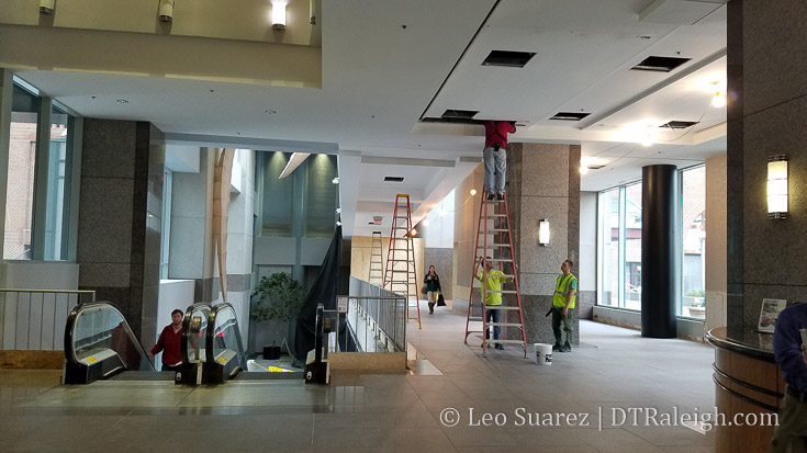 Renovation work in the lobby of Two Hannover Square