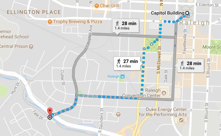 Walking routes from NC Capitol to Dix Park entrance