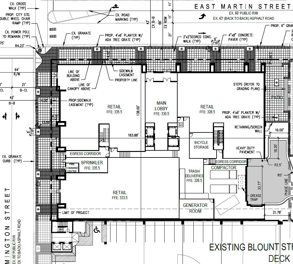 Preliminary Site Plan for The Edison Office tower.
