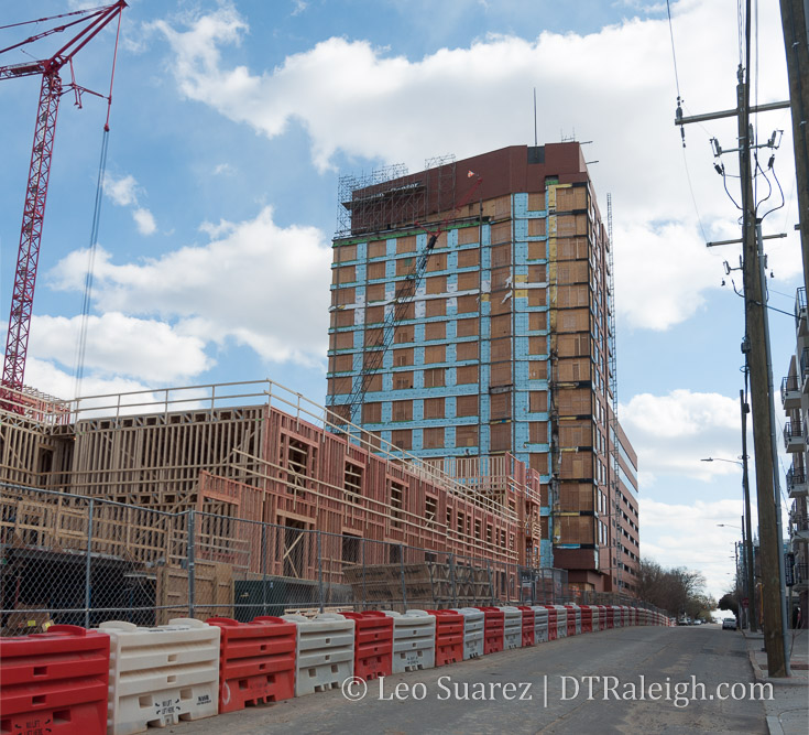 The Metropolitan Apartments under construction with the Quorum Center in the background. March 2018.