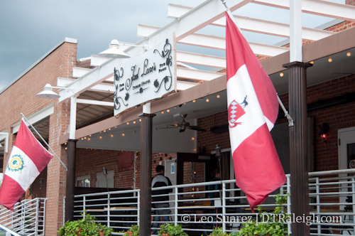 City of Raleigh flags at Joel Lane's Public House