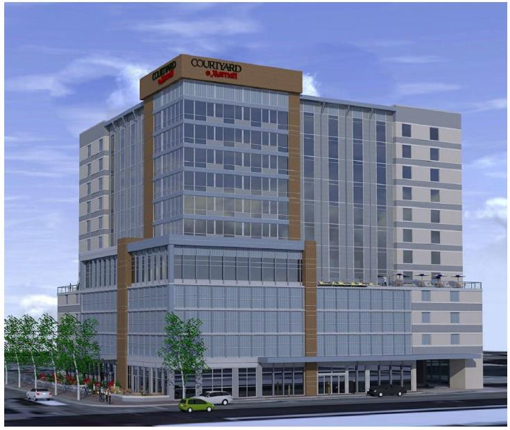 Rendering for downtown Raleigh Courtyard Marriot