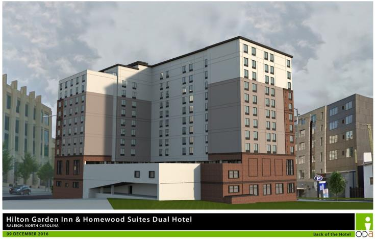 Rendering of Dual Brand Hilton Garden, back of the building