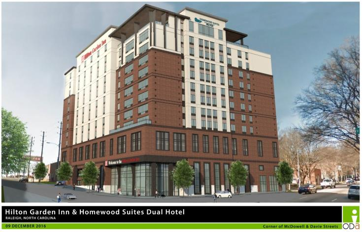 Rendering of Dual Brand Hilton Garden, corner of McDowell and Davie Streets