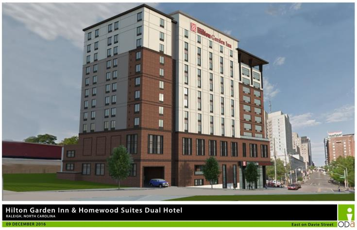Rendering of Dual Brand Hilton Garden, view from Davie Street