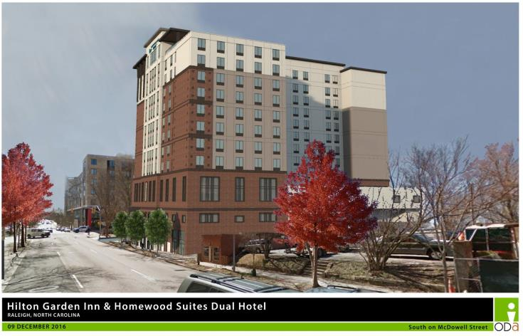 Rendering of Dual Brand Hilton Garden, view from McDowell Street