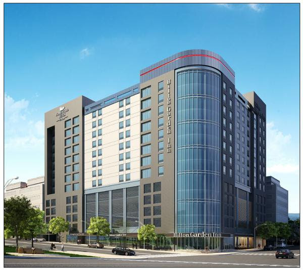 Rendering of the Hilton Garden Inn planned for the corner of Davie and McDowell Streets