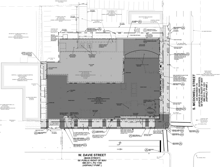 Site Plan sr-102-16 for Hilton Garden and Homewood Suites Downtown Raleigh