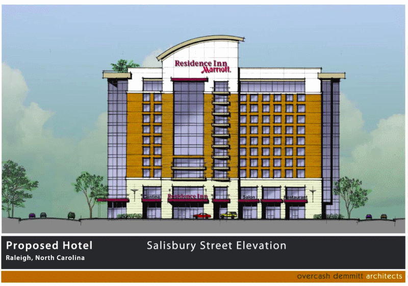 Rendering of the downtown Raleigh Marriott Residence Inn