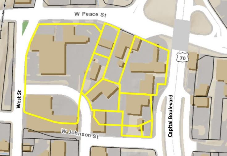 Map of area between Peace and Johnson, West and Capital Boulevard.