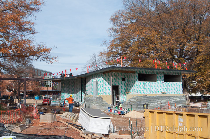 Moore Square cafe being constructed. December 2018.