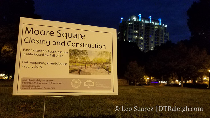 Closing notice for Moore Square