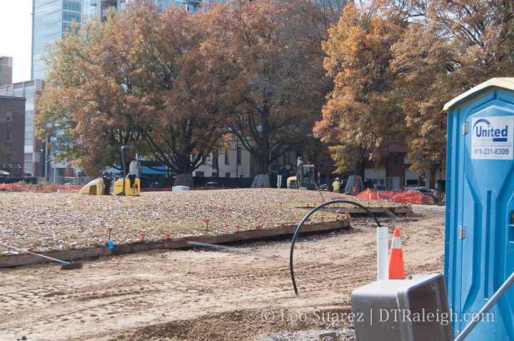 The Moore Square lawn under construction. December 2018.