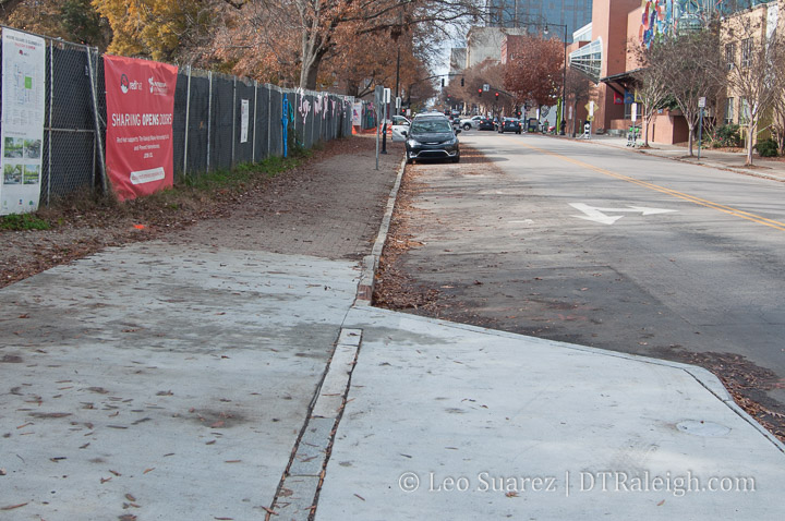 New sidewalks around Moore Square. December 2018.