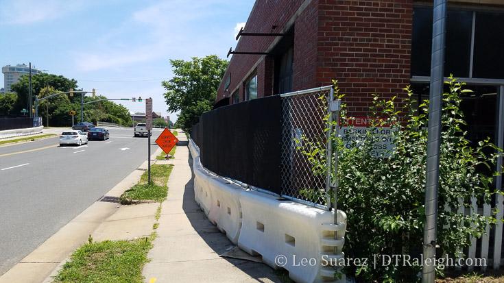 Construction fencing along Morgan Street