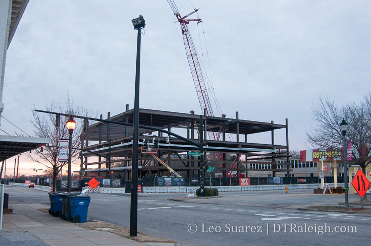 Steel rises at the site of One Glenwood. February 2018.