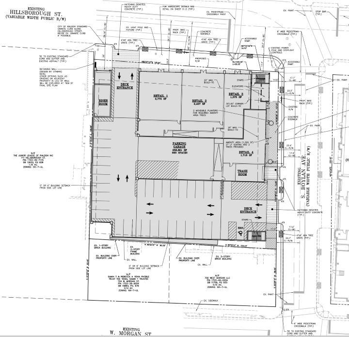 SIte plan of the Bloc 83 parking deck along the 700 block of Hillsborough Street.