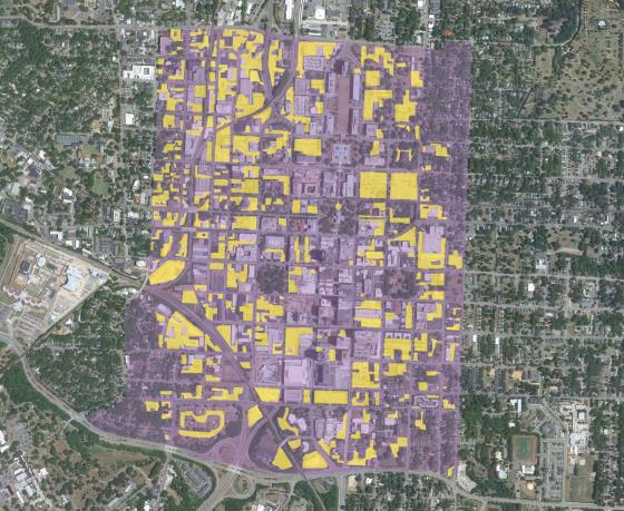 Yellow indicates surface parking in downtown Raleigh. Data is dated 2011.