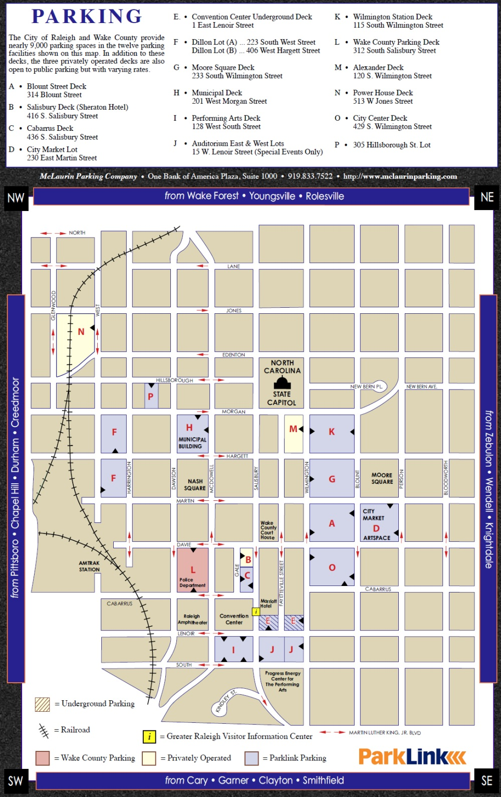 City of Raleigh Parklink Parking Map