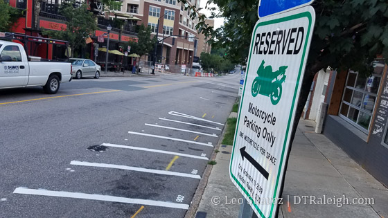 Motorcycle only parking on Glenwood Avenue