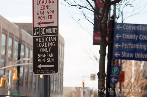 Musician Loading zone in downtown Raleigh