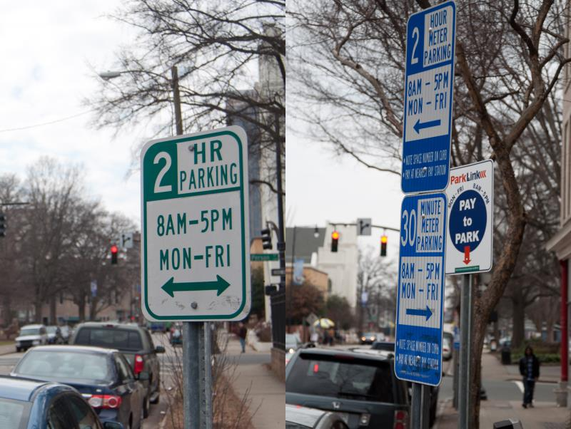 Parking signs in downtown Raleigh.