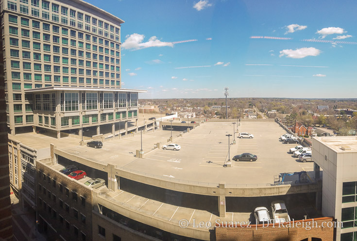 The top floor of the Red Hat parking day on a typical Friday afternoon.