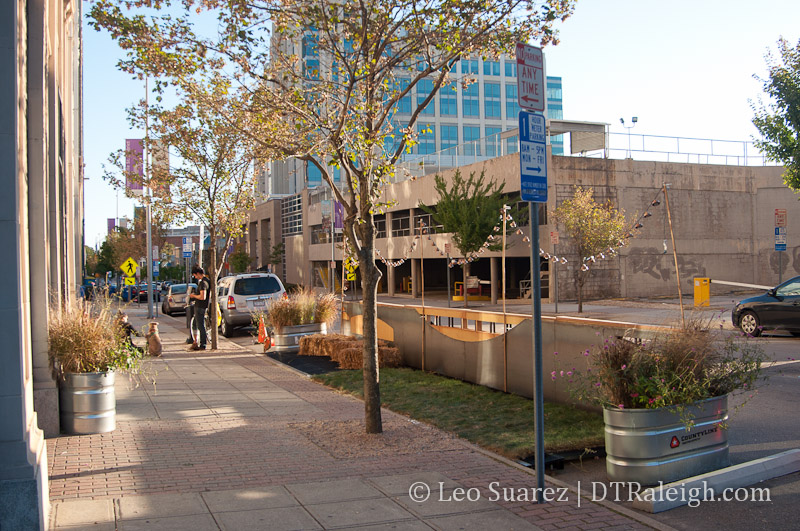 Raleigh's first parklet at Salisbury and Hargett Street.