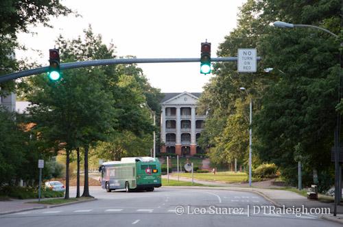 View of William Peace University down Wilmington Street.