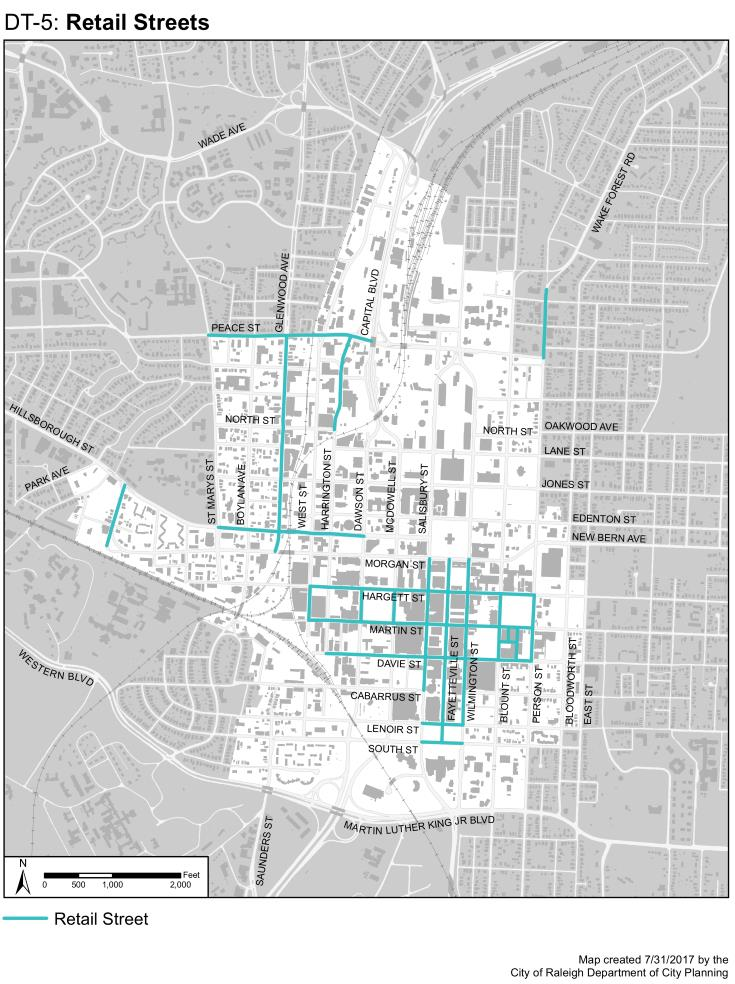 Retail Street maps of downtown Raleigh in the comprehensive plan