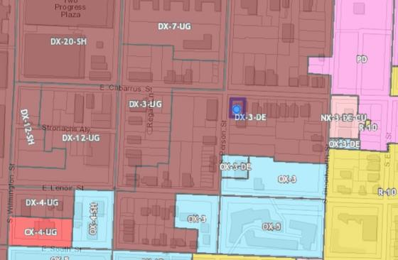 Proposed UDO map around 501 South Person Street.
