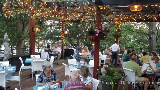 Rooftop seating at Taverna Agora