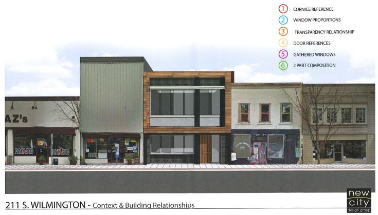 Rendering for new storefront at 211 South Wilmington