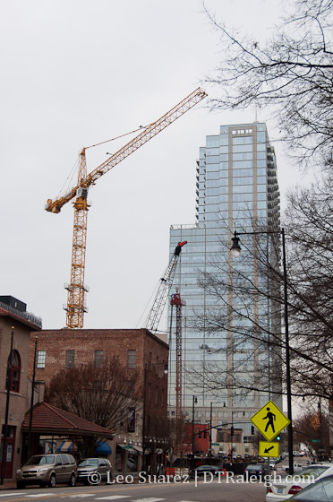 A crane towers over City Market.