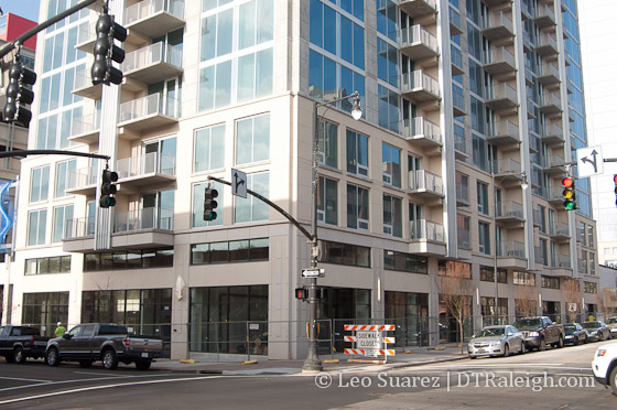 Skyhouse retail spaces at the corner of Blount and Martin Streets.