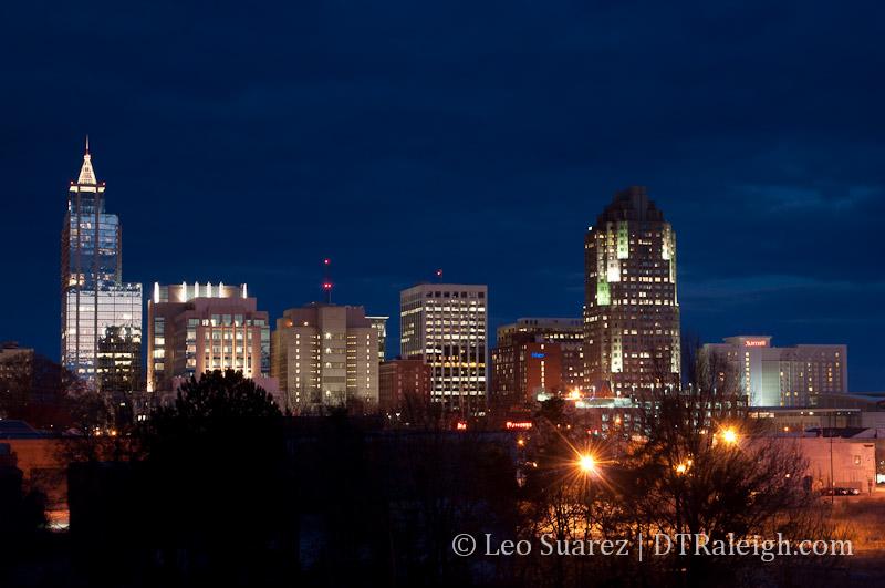 Raleigh Skyline from the Boylan Bridge March 2013