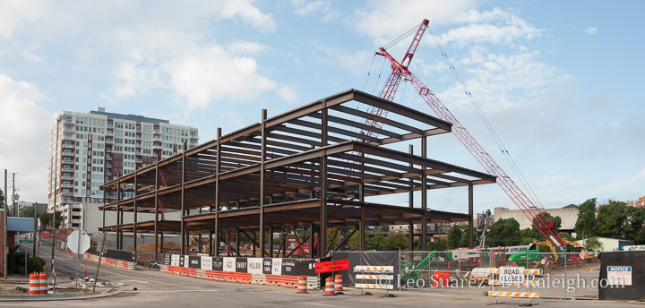 Steel framing of the office building coming to Smokey Hollow phase 2.