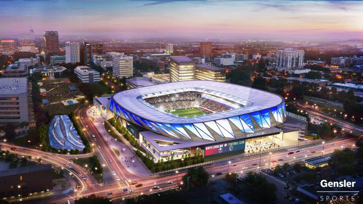 Rendering of potential MLS stadium on Peace Street
