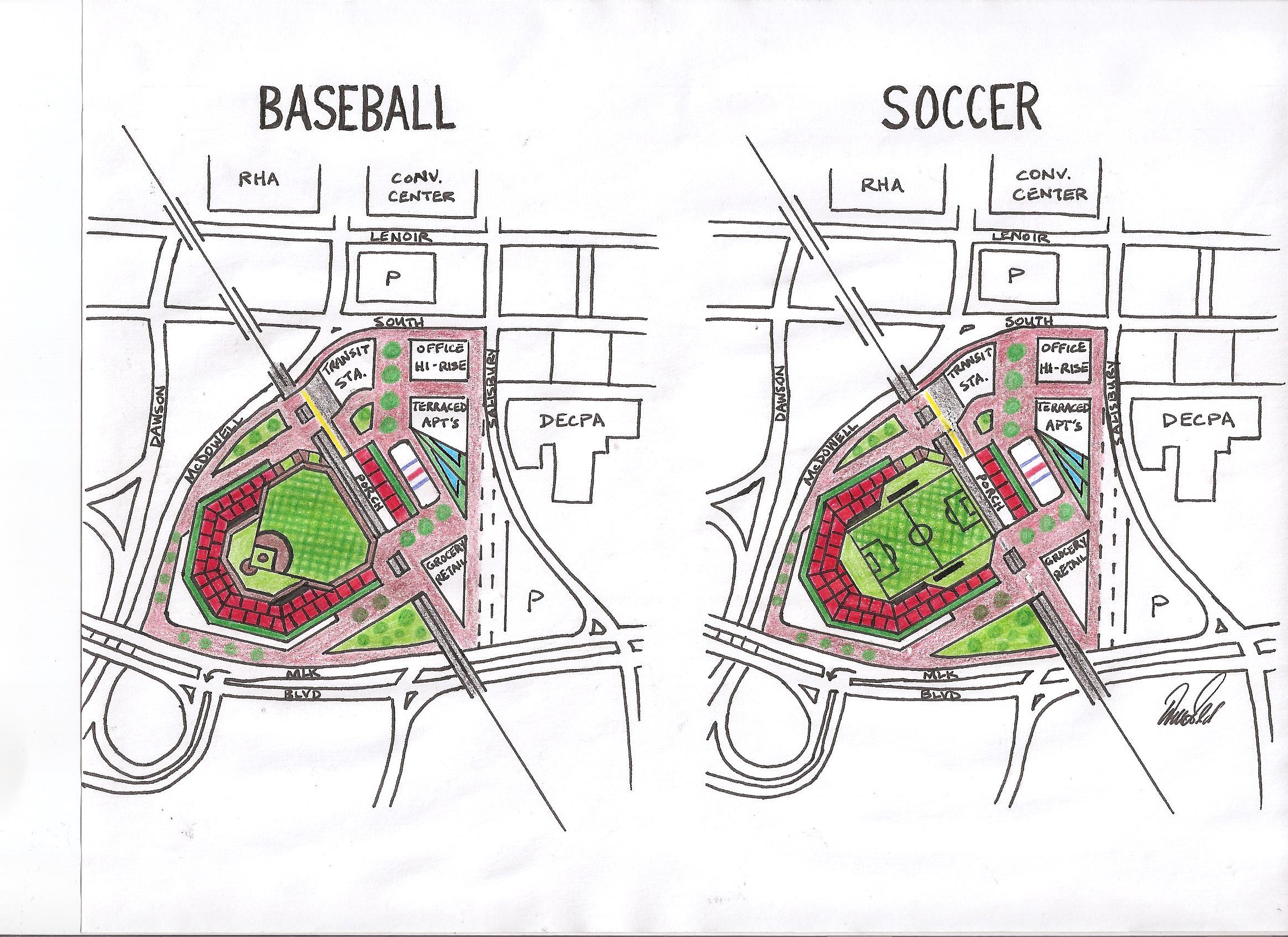 Baseball in Downtown Sketch – The Raleigh Connoisseur