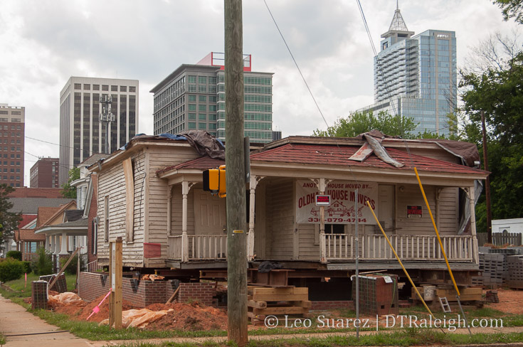 The Rogers House in its new home at the corner of Bloodworth and Cabarrus Streets.