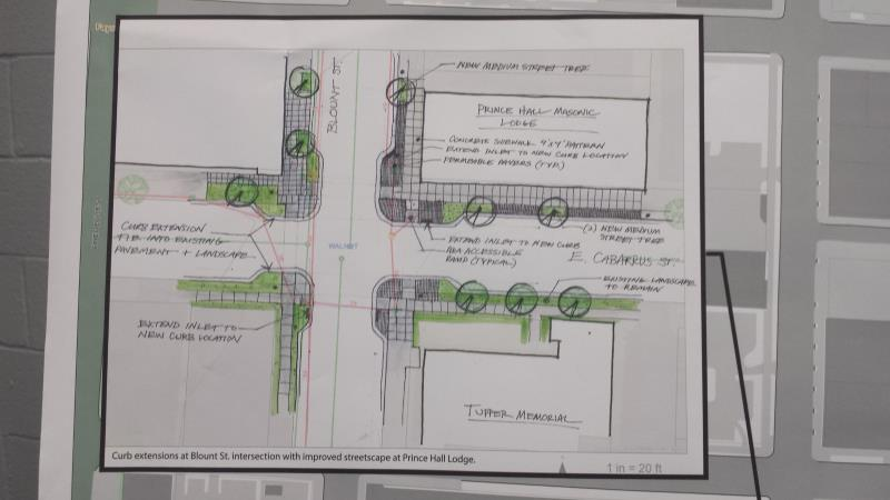 East Cabarrus Street - Proposed bump outs at Blount Street.