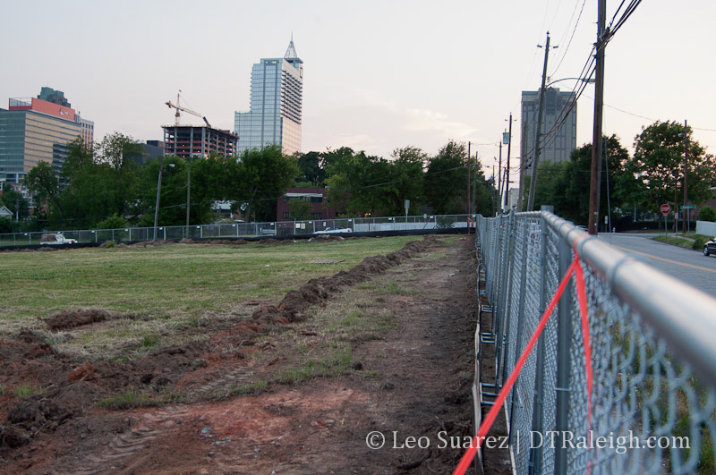Construction fencing at the site of The Lincoln